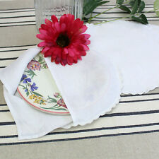 More details for vintage linen plate protectors with scalloped edges. 4 plate storage covers.