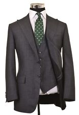 Sartoria Partenopea Gray Stripe SILK WOOL 3pc Suit Jacket Pants Vest 50 40 R