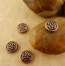 10 antique copper TierraCast Celtic Knot Triad Circle beads