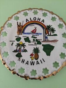 Vintage Souvenir Plate  ALOHA HAWAII Hula Girl Pineapple