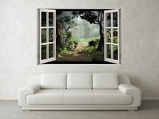 Misty forêt scène 3D full colour fenêtre mural art autocollant mural decal