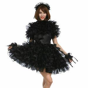 Girl Sissy Maid Black Satin Organza Puffy Halloween Party Dress cosplay Costumes