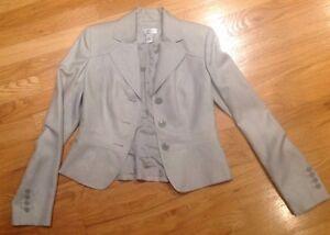 Ann Taylor Loft Women's Blazer Gray Sz 0 Professional Business