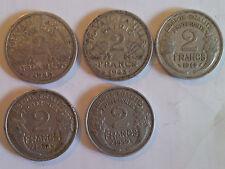 Lot de pieces de 2 francs 1943/48/58/59