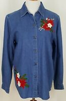 Casey Max Christmas Shirt Button Size M Long Sleeve Denim Embroidered Poinsettia