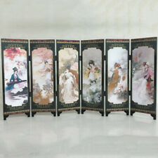 Room Divider Folding Screen 6-Panel Printed Canvas Oriental Ancient Ladies S