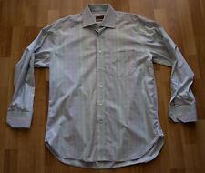 Alara 2 PLY Egyptian Cotton Blue Pink Multicolor Men Dress Shirt, Sz 15.5