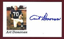 Art Donovan DECEASED NFL Football Hame Fame Colts Signed 3x5 Card C10295