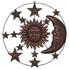 Metal Celestial Moon Sun Decor Wall Sculptures Plaque Art Indoor Outdoor Accent
