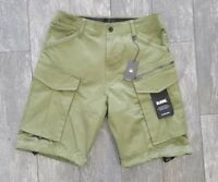 G STAR RAW ROVIC ZIP LOOSE MICRO TWILL CARGO SHORTS IN OLIVE GREEN