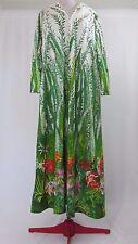 Loungees 70s Vtg White Tropical Print Long Sleeve Muu Muu House Lounge Dress M-L