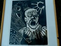 "ARTIST PENCIL SIGNED WOODCUT OF MAN SHOUTING ""UNTITLED"""