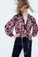 NWT ZARA MULTICOLOURED STUDDED FLORAL PRINT BLOUSE SEMI-SHEER STUDS SIZE XS