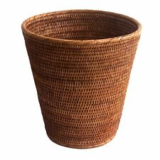 Fine Round Wicker Rattan Waste Paper Basket Office Bedroom