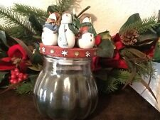 Snow friends Topper, Iced Evergreen Candle And Magnolia Swag Home Interiors Gift