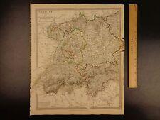 1844 BEAUTIFUL Huge Color MAP of Germany Bavaria Switzerland Tyrol ATLAS