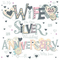 """Wife Silver 25th Wedding Anniversary Greeting Card 8"""" Square Handmade Cards"""