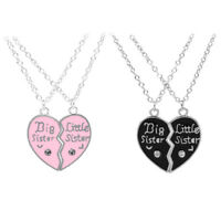 Heart Necklace Clavicle Chain Broken Pendants Sisters Lovers Jewelry Accessory