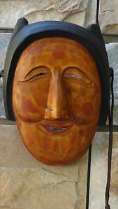 RARE ANTIQUE OLD KOREAN WOODEN HAHOE MASK BUNE OF OLD WOMAN,SIGNED