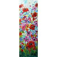 Spring Country Flowers Vivid Blossom Tall Vertical Narrow Painting Original Oil