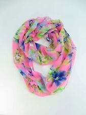 pink floral double loop infinity scarf eternity circle neck wrap
