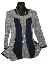 JB 44 46 Figurtraum Schnürung Zipper Mix Stretch Tunika Shirt A Linie MARINE