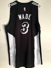 adidas Swingman 2015-16 NBA Jersey Miami Heat Dwayne Wade Black Fashion Sz XL