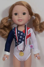 """3pc Gymnastic Leotard USA Flag Theme Doll Clothes For 14"""" Wellie Wishers (Debs)"""