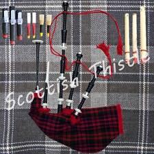 SCOTTISH BAGPIPE BLACK COLOR HALF SET WITH TUTOR BOOK/DUDELSACK/GAITA/Cornemuse