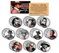 JOHN WAYNE * MOVIES * Colorized JFK Half Dollar U.S. 10-Coin Set * LICENSED *