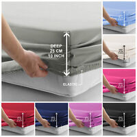 Extra Deep 25cm Elastic Fitted Sheet Full Bed Sheets Single Double King Size