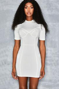 MISTRESS ROCKS 'Next Level' White Corseted Mini Dress S 8 / 10 MM 5071