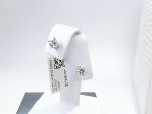 $4000 WOW CERTIFIED 1/2CTTW CT REAL Diamond Stud Earrings 14k SOLID WHITE Gold!
