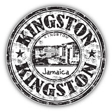 "Kingston City Jamaica Grunge Travel Stamp Car Bumper Sticker Decal 5"" x 5"""