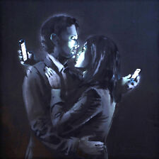 "Banksy, Mobile Lovers, 12""x12"", Graffiti Art, Canvas Print"