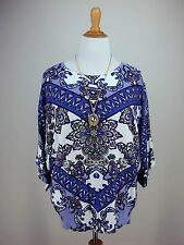 Mandala Top XL Blue Boho Dolman Sleeve JOSEPH A Tunic Sweater
