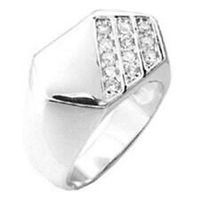 18K W GOLD EP .50CT MENS DIAMOND SIMULATED RING size 10 or T 1/2
