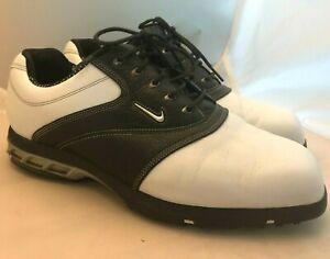 NIKE Sport Performance Golf Cleats Shoes Men's sz 11 W Leather Black White Laces
