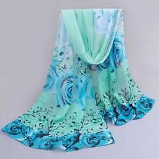 Women Beautiful Rose Pattern Chiffon Shawl Wrap Wraps Scarf Scarves Sheer