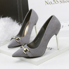 Women's Ladies High Heels Pointy Toes Stilettos Faux Suede Court Shoes Pump Sexy