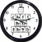 """Craft Beer Brewer Chemistry  Wall Clock Periodic Table Elements Home Brew 10"""""""