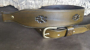 Hand made leather Cobra style rifle sling with large dog,wolf tracks.Any colour