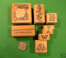 Friendship Flower Garden Rubber Stamp Set, wood mounted