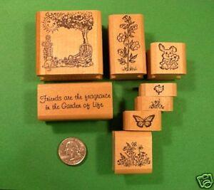 Friendship Flower Garden Rubber Stamp Set, wood mounted