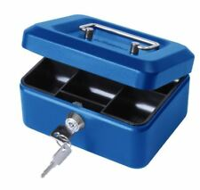 """Cathedral Saftey Small Money Cash Box Safe With Coin Tray and Handle - Blue 6"""""""