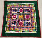 """35"""" x 33"""" Vintage Rabari Throw Embroidery Ethnic Tapestry Tribal Wall Hanging"""