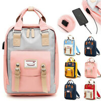 Nylon Woman School Backpack Student Bag USB Charging Anti-theft Rucksack