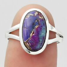 Copper Purple Turquoise - Arizona 925 Sterling Silver Ring s.7 Jewelry 5315