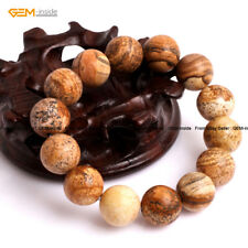 Men Natural Stone Picture Jasper Beads Energy Healing Beaded Jewelry Bracelet 7""