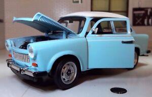 G LGB 1:24 Scala Trabant 601 Blu Con Bianco Tettuccio 1964 Modellino Auto 24037